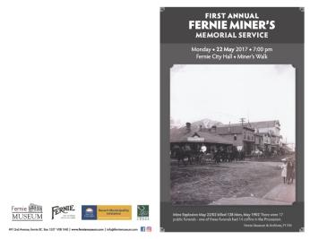 Fernie Museum: Memorial program outside