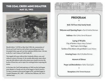 Fernie Museum: Memorial program inside