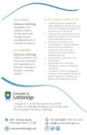 Volunteer Lethbridge brochure back